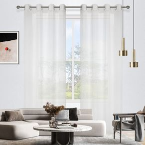 Bergamo Stripe Sheer Eyelet Curtain 165x220cm