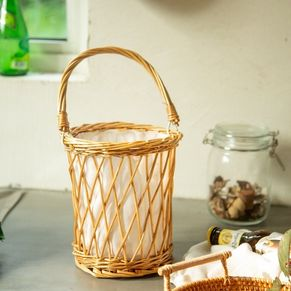 Lantern Rattan Basket With Handle