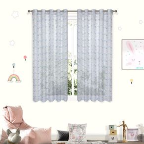Rabbit Sheer Eyelet Curtain 220cm Drop