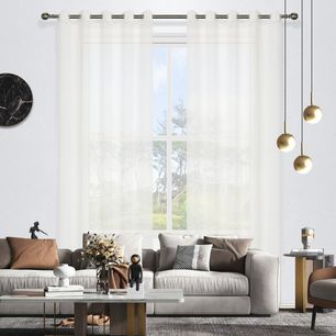Geneva Stripe Sheer Eyelet Curtain 220cm & 250cm Drop