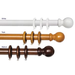Windsor Timber Curtain Rod Pole Set